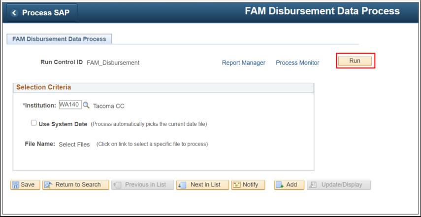 Image of FAM Disbursement page