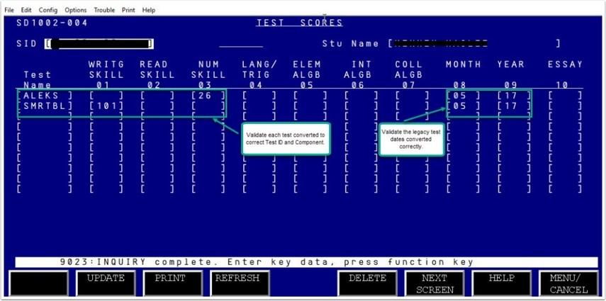 Legacy SD1002 Test Score Page Image