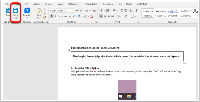 Gem et dokument fra Word, Excel og Powerpoint på en sag (Vejledning) - Word