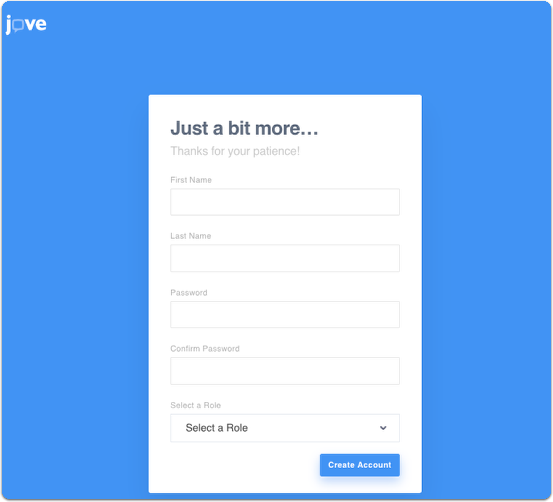 JoVE create account - user details