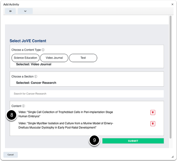 Select searched content and Submit