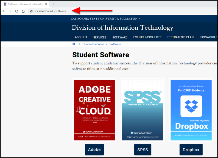 STS software webpage