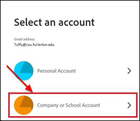 Click on 'Company or School Account'