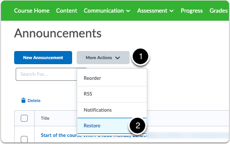 Announcements homepage - More Actions - Restore