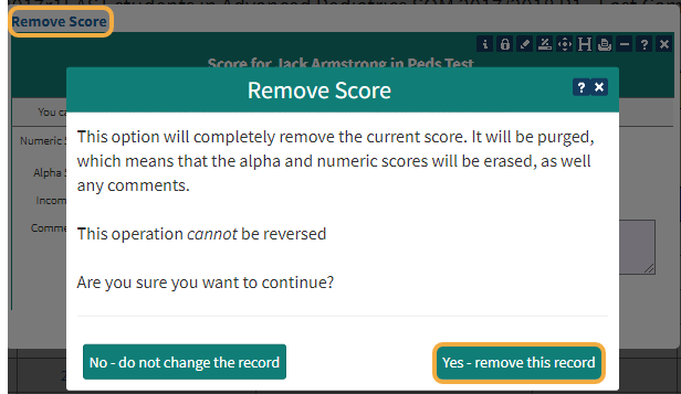 To remove an existing score