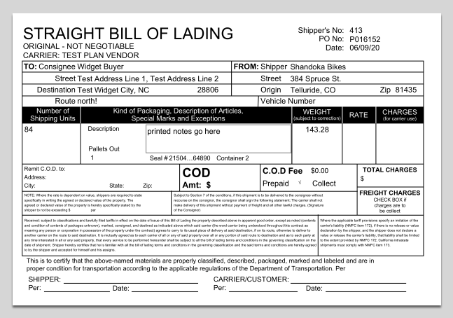 Bill of Lading example