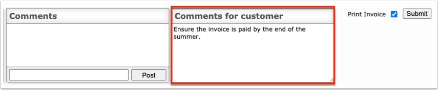 Internal Account Invoices