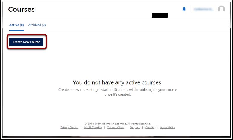 'Create New Course' button