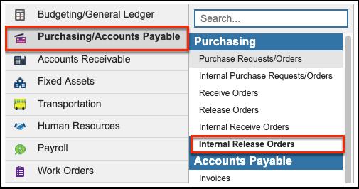Internal Release Orders