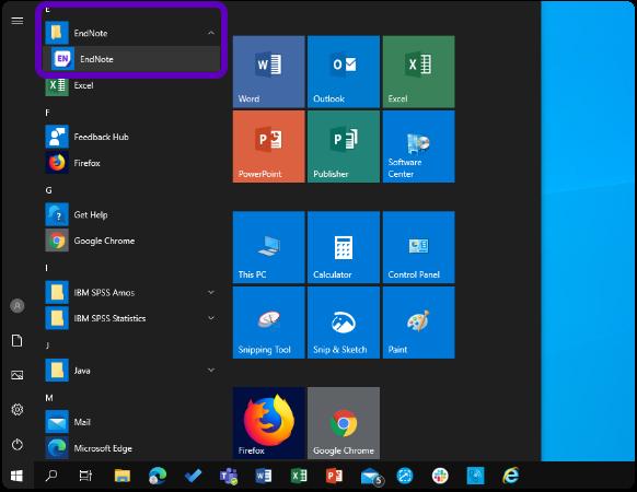 Windows start menu with app list