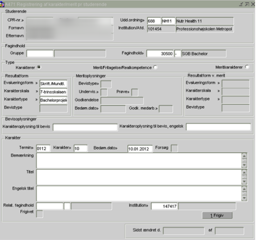 Metode 2: Registrering ved brug A471/Registrering af karakter/merit pr. studerende