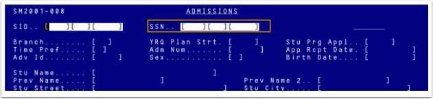 Legacy Screen SM2001 Student SSN
