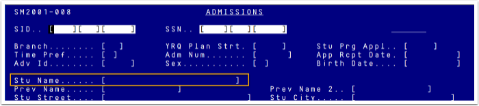 Legacy Screen SM2001 Student Name