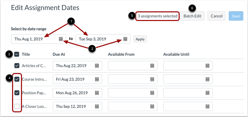Select Multiple Assignment Dates