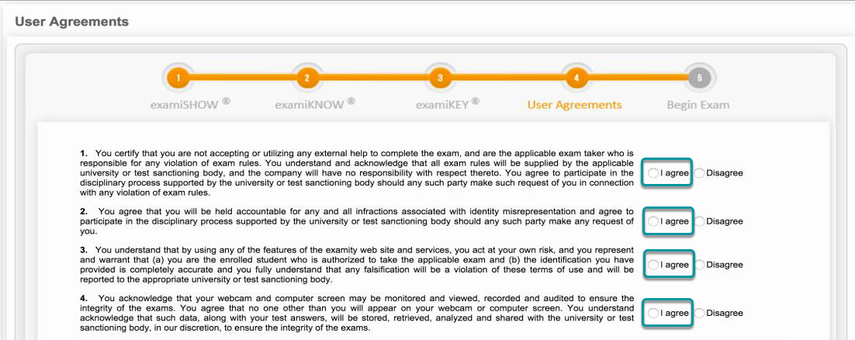 Review the user agreement and exam rules.