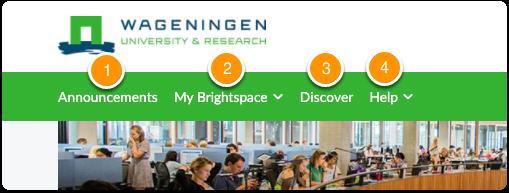 WUR Brightspace homepage - green navigation bar