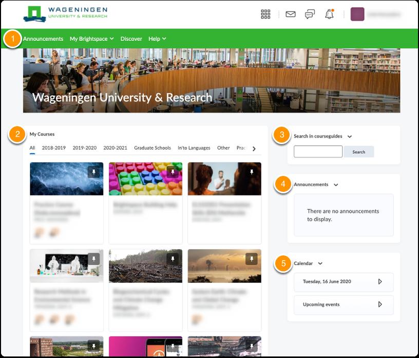 WUR Brightspace homepage