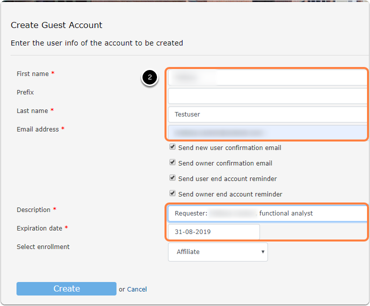 Create Guest Account interface