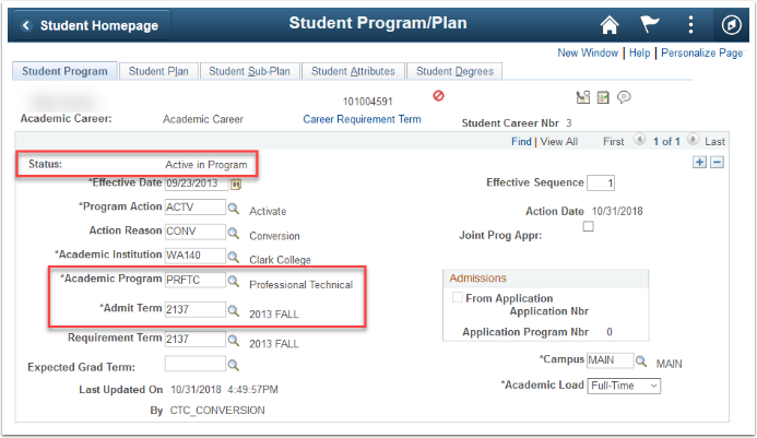 Student Program/Plan Page Student Program Tab Image