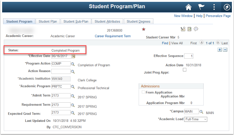 Figure 1  Completed Program/Plan Stack for awarded degree
