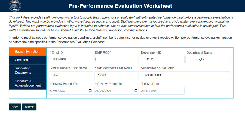 Pre-Performance Evaluation Page overview