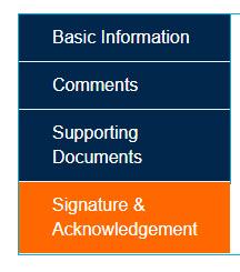Navigation Bar highlighting Signature & Acknowledgement