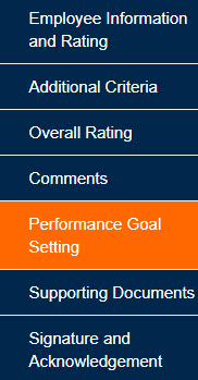 Performance Goal Setting Tab