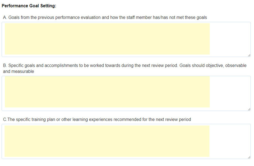 Performance Goal Setting overview page