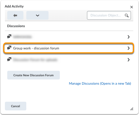 Add activity window - click on discussion forum
