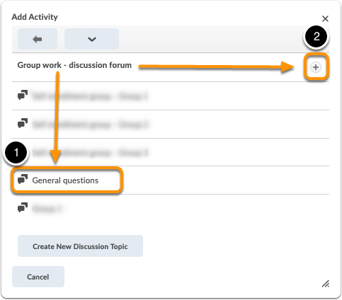 Add activity window - click on discussion topic or plus sign