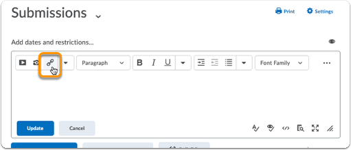 Click chain icon in the text editor bar