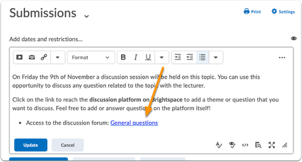 Example of quicklink for discussion forum/topic in description of module