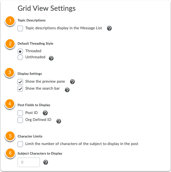 Discussions Settings - Grid view settings
