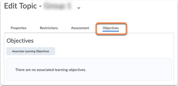Discussion topic - Objectives tab
