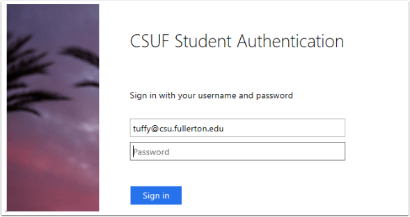 CSUF Student Authentication Page