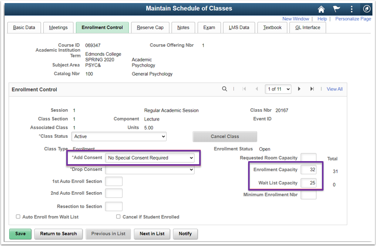 Maintain Schedule of Classes Enrollment Control Tab Image