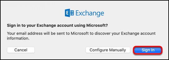 sign in to Exchange with Microsoft
