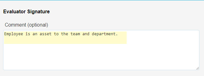 Overview of Comments (optional) field
