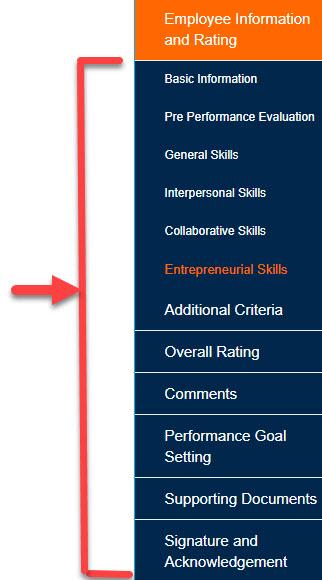 Staff Evaluation tabs