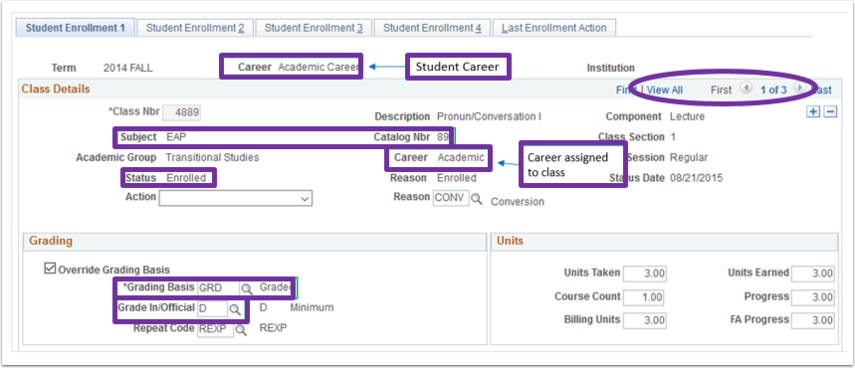 Example of the Enrollment page, Student Enrollment 1 tab