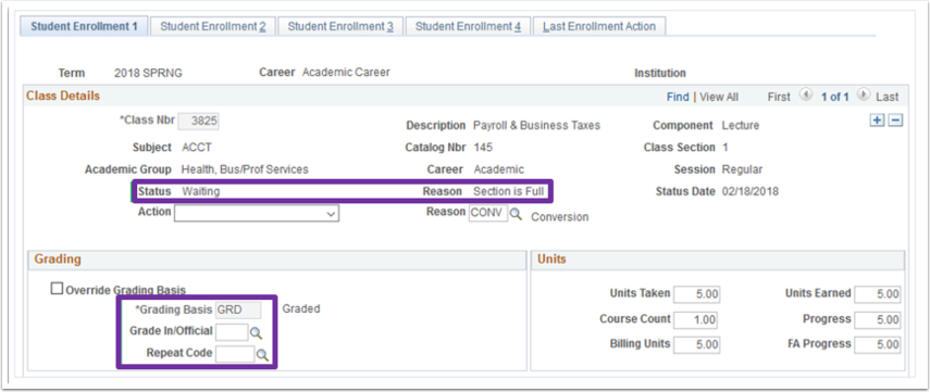 Example of a Waitlisted student