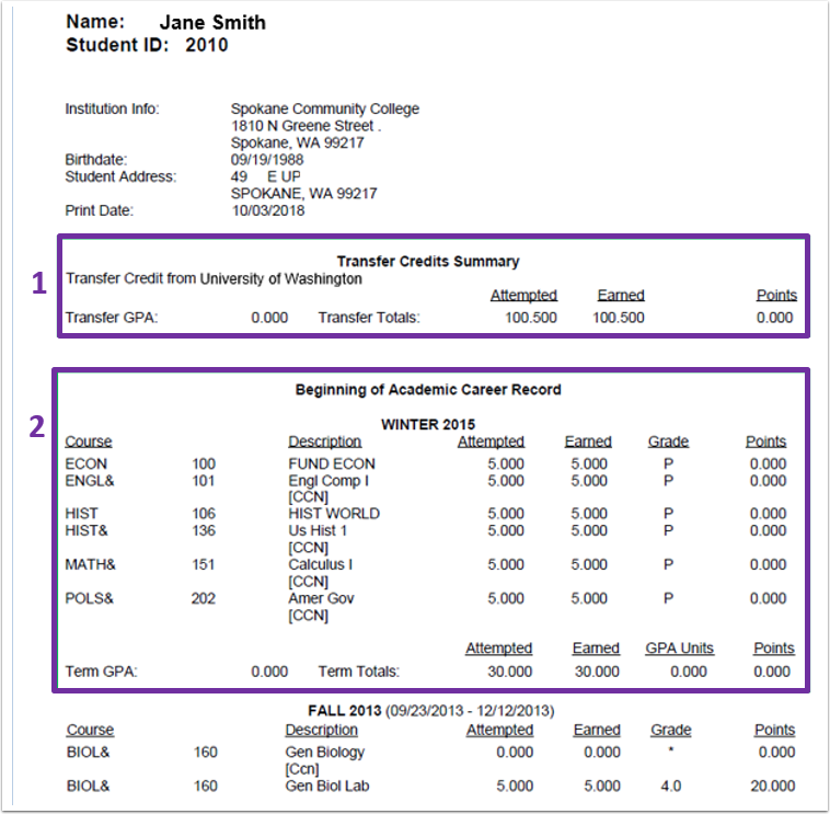 Example of a PeopleSoft official transcript with both transfer credits (box 1) and transcripted classes (box 2) Image