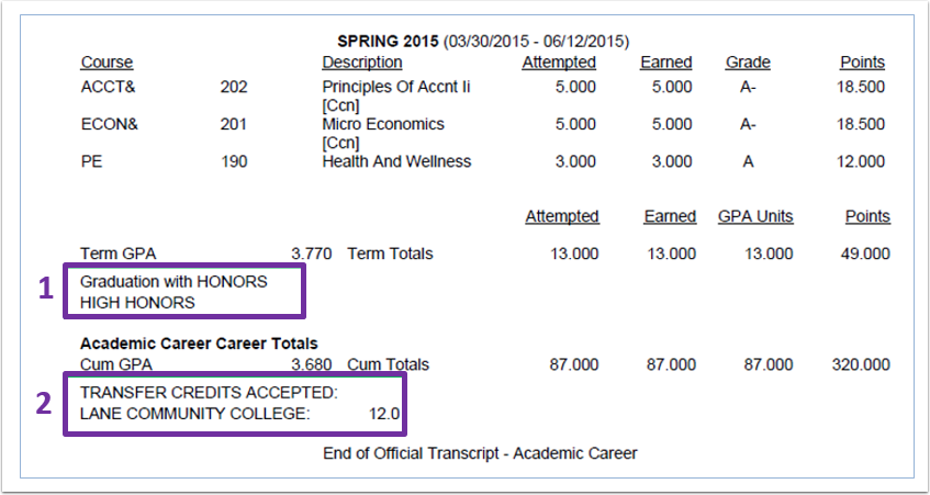 Transcript Honors in PeopleSoft Image