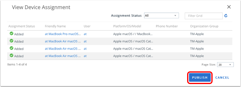 Publish the macOS profile in Workspace ONE UEM admin console