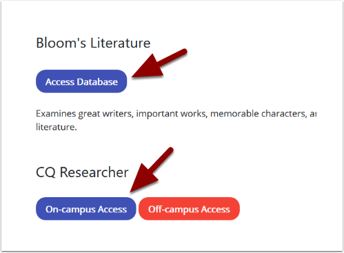 Library database access page
