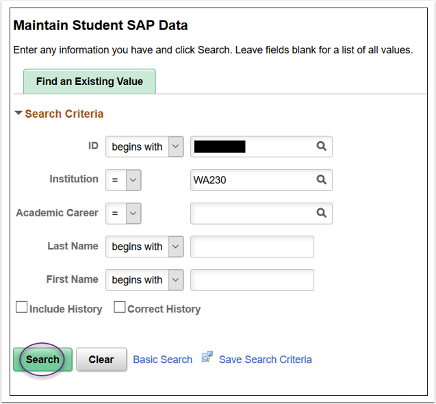 Maintain Student SAP Data Image