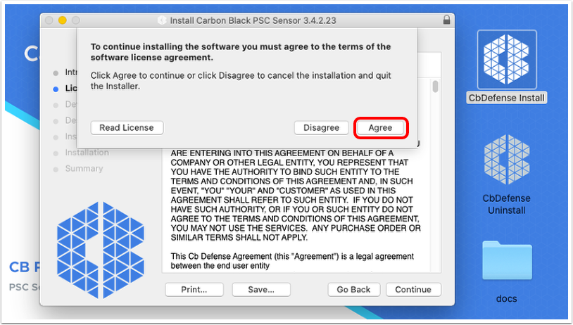 Agree to terms of use to install VMware Carbon Black Cloud sensor on macOS
