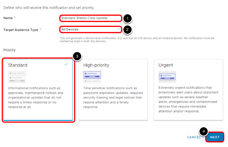Create Standard Workspace ONE Notification in Workspace ONE Hub Services