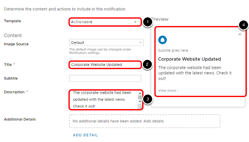 Configure Notification content in Workspace ONE Hub Services