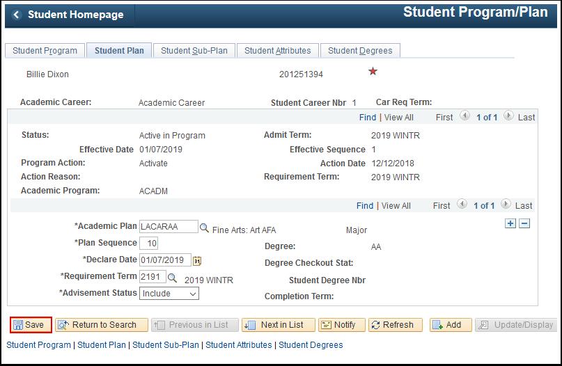 Student Plan tab
